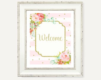Pink and Gold Floral Party Decorations - Baby Shower Welcome Sign - Instant Download - Gold and Pink Birthday Decorations - Party Printables
