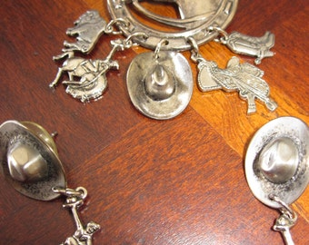 Pretty Silver Country Horseshoe Brooch and Earring Set - from the 1990s