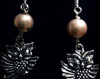 Owl and Freshwater Earrings