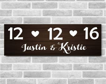 Wedding Date Wooden Sign with First Names, Personalized Wedding Sign, Personalized Wood Sign, Wedding Date, Wedding Gift, Rustic Wedding
