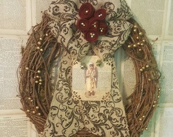 Vintage Victorian Christmas Angel Door Wreath Wall Hanging 40
