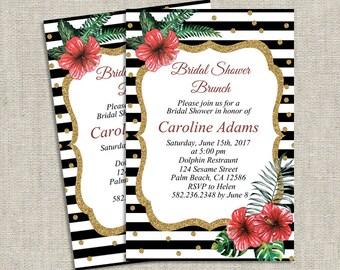 Elegant Bridal Shower Brunch Invitation, Floral Bridal Shower Invitation, Printed Bridal Shower Invites, Printable PDF Bridal Shower Invite