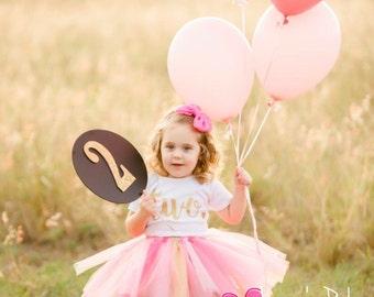 2nd Birthday Onesie & Tutu Skirt/ two birthday tutu/ gold pink glitter tutu skirt