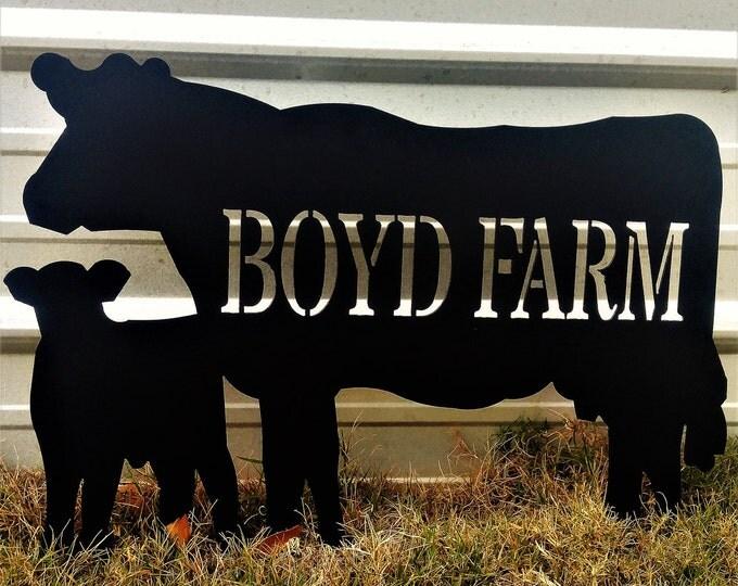 Metal Farm Sign, Custom Farm Sign, Cow Door Sign, Cattle Farm Decor, Cow Decor, Gift for dad, Ranch Decor, Gift for Him, Farm Gate Sign