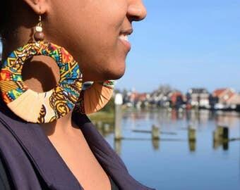 Assorted Wooden Dangle Earrings | Statement Ethnic Jewelry | African Kente/Ankara print, Brass, Wood, Beads | Handmade in Kenya & Tanzania
