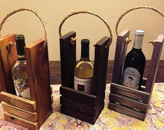 Rustic Wine Bottle Carrier