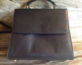 Retro Fiona Top Handle Bag with Shoulder Strap - Multiple Compartments black/purse/retro/vintage