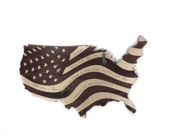 American Flag - American Flag Wall Art - American Flag Decor - American Flag Wood - Pledge of Allegiance - Patriotic Wood Decor - US Flag