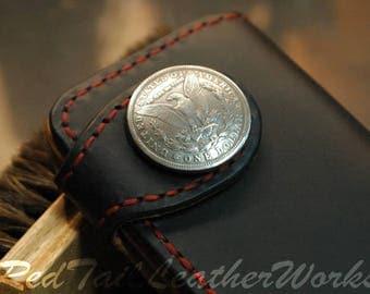 black leather, long wallet, mens wallet , bill fold , roper wallet, biker wallet , leather wallet, western wallet