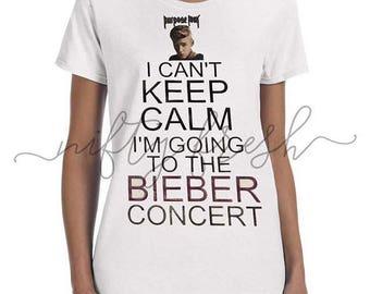 Justin Bieber Purpose Tour Concert I Can't Keep Calm Tshirt