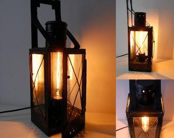 Black Industrial Lantern | Table Edison Lamp | Wall Lamp with Edison Bulb | Handmade Steampunk Lighting | Minimal Decor | Vintage Light 50s