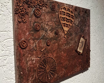 Steampunk vintage retro decoupage scrapbooking freedom, 3-d mixed media collage 30 x 40 cm communications