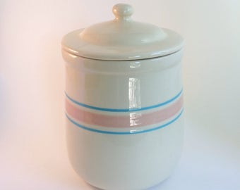 McCoy Canister with Lid Stonecraft Pink & Blue Stripes 1970s 1980s Vintage Stoneware
