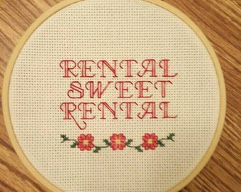 COMPLETED - Rental Sweet Rental Cross Stitch, Housewarming, Funny Cross Stitch