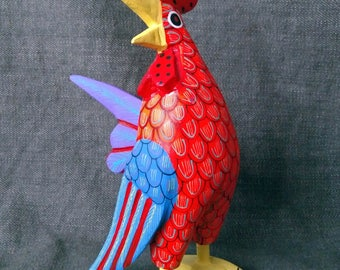 Gorgeous oaxacan wood carving rooster. Alebrije. Mexican folk art