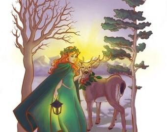 Winter Solstice Print, Yule, Art Print, Holiday Decor, Goddess and God, Spiritual Gift, Illustration Print, Christmas Gift, Wall Art, Prints