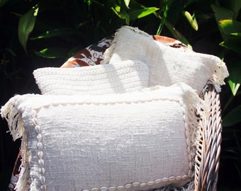 linen cushion cover with shell accessory detail/embelished linen cushion covers/organic linen cushion covers