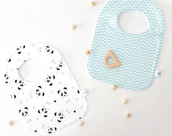 "Duo of bibs ""one, two, three, PANDA!"" / 2 colours available (personalization on request)"