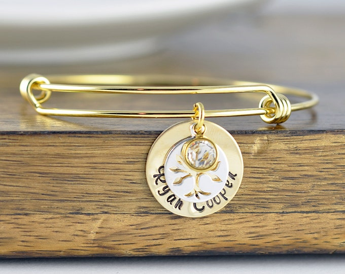 Family Tree Bangle Bracelet, Tree of Life Bracelet, Kids Name Jewelry, Family Tree Jewelry, Grandmother Gift, Gifts for Mom, Mothers Jewelry