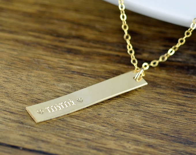 Gold Bar Necklace, Gold Necklace, Gold Name Necklace, Mimi Gift, Gifts for Mimi, Name Tags, Name Necklace, Name Plate