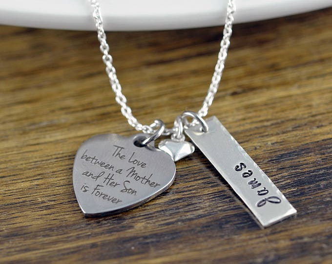 The Love Between A Mother And Her Son Is Forever Necklace / Mother and Son Gift, Mothers Jewelry, Mothers Day Gift, Mothers Necklace