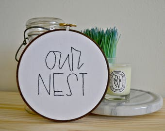 Clearance | Embroidery Hoop Art | Wall Art | Our Nest Wall Decor