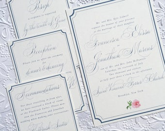 Navy theme custom wedding invitation suite. Copperplate script. Custom RSVP card calligraphy, fancy calligraphy wedding invitations