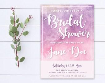 Printable Bridal Shower Invitation - Pink Purple Watercolor - 002