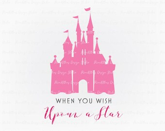 SVG PNG JPG Digital Download Clip Art File - Wish Upoun a Star Castle Pink Princess Fairytale Girl