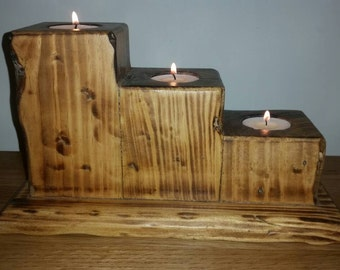 Reclaimed wood upcycled rustic tea light candle holder handcrafted
