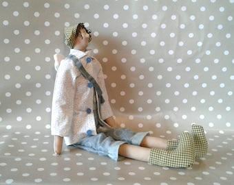 Angel Doll - Cloth Doll - Handmade Doll - Fabric Doll - Art Doll - Soft Doll - Rustic Doll - Angel Boy Doll - Raggedy Doll - Decor Doll -