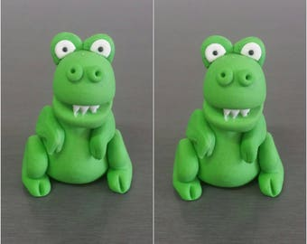 2 x 3D T-Rex Dinosaur Cake toppers, Dinosaur cake decorations, fondant toppers, edible cupcake decorations