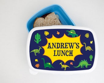 Personalised Adventurous Dinosaur Lunch Box - Brotdose - Children's Lunch Box - Back to school - Perfect Gift for Kids - Food Storage Box!