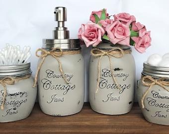 4 Piece Handpainted Mason Jar Deluxe Bathroom Set