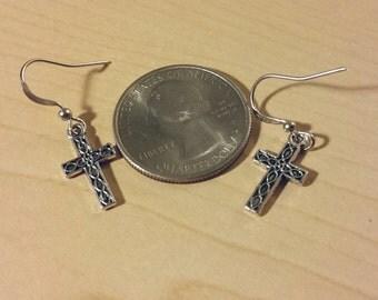 Silver Cross earrings religious