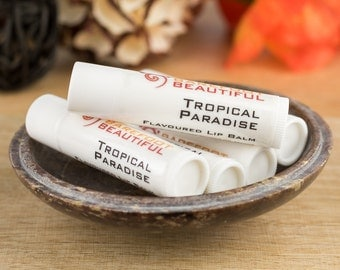 Flavoured Vegan Lip Balm - Sweet Tropical Fruits - Vegan Ingredients with Cocoa & Mango Butters - 4g Lip Balm Tube - Handmade in Australia