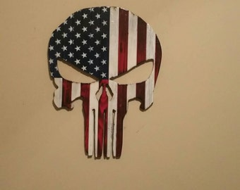 The Punisher all wood American Flag