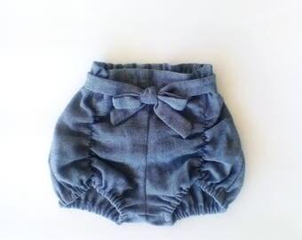 Denim Pucker Shorts / Baby Girls clothing / Girls Shorts / Girls bloomers / Pucker Shorts / Denim / Bow / Baby Girl