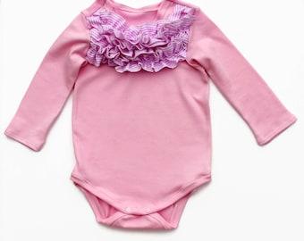 Handmade Baby pink ruffled bodysuit