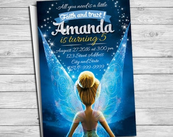 TInkerbell invitation for Tinkerbell birthday party, Tinkerbell invitation, Tinker Bell invitations, Tinker Bell Thank you card | MTI_2