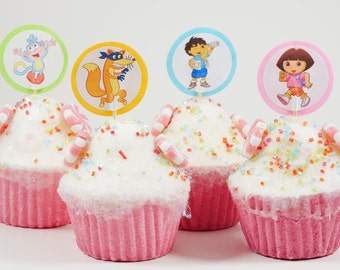 Dora the Explorer cupcake topper, Birthday cupcake picks, Dora, Diego, Boots,Swiper,Dora Backpack, Dora Birthday Party