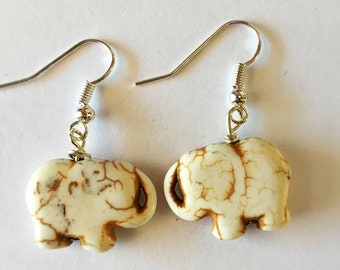Howlite Elephant earrings
