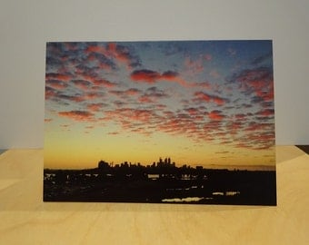 Perth City Western Australia sunset Greetings Card Blank Natural unedited Photograph clouds purple silhouette