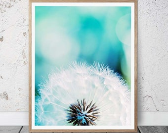 dandelion wall art dandelion print dandelion photography print bedroom decor teal home botanical print nature photography floral blue