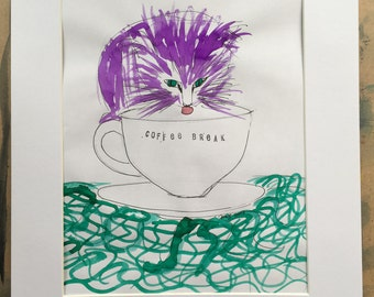 Pen and ink sketch Purple cat, coffee break