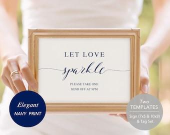 Sparkler Send Off Sign, PDF Template, Sparkler Sign, Let Love Shine Sign, Sparkler Send Off, Wedding Sparkler Tags, Instant Download, navy