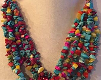 Multi strand beaded, semi precious stone necklace