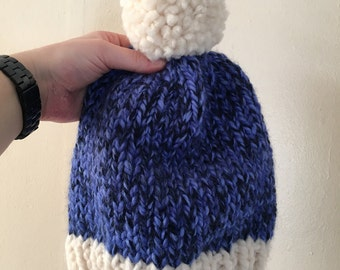 Color Block Beanie - Gifts for Her - Women's Basic Hat - Winter Hat - Acai and White