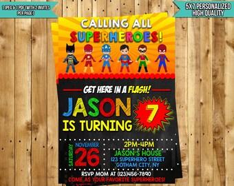 Superhero Invitation, Superhero Birthday Invitation, Superheroes Party - Superhero Birthday Party - Superhero Birthday Invitation -JPG&PDF