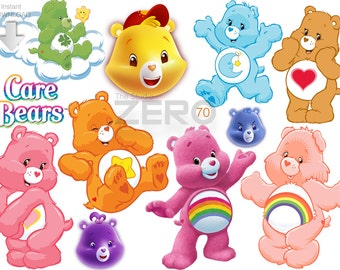 70 Care Bears Clipart, Instant Download 300DPI, Printable Iron On Transfer or Use as Clip Art - DIY Disney, Care Bears Clipart